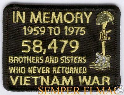 IN MEMORY 58479 KIA VIETNAM VET HAT PATCH US MARINES ARMY